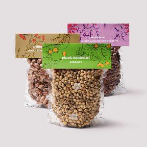 Pistazienkerne, Piccola Haselnüsse, Erdnüsse mit Haut, geröstet